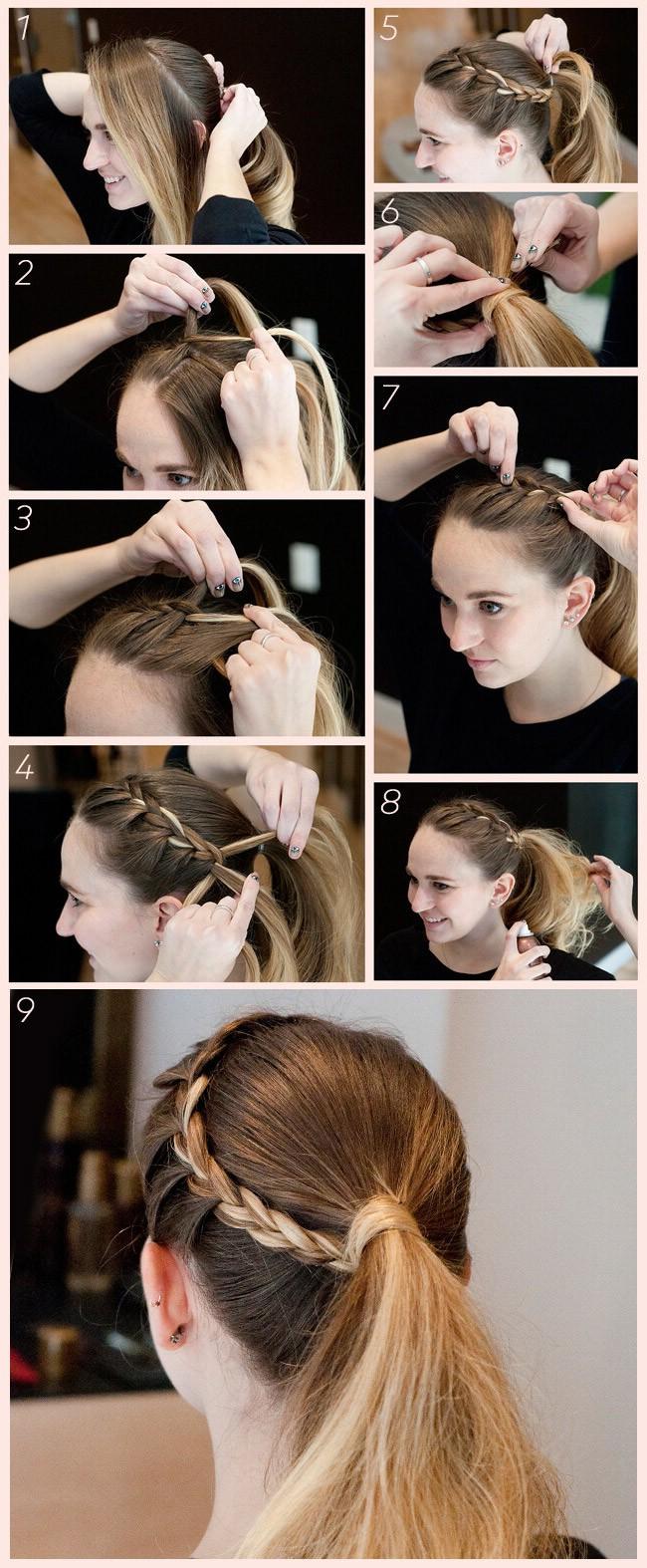 Простая и практичная прическа для новогодней вечеринки: коса-венок, переходящая в объемный хвост