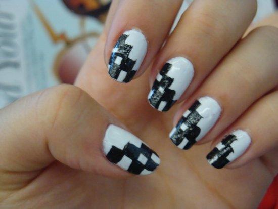 Ногти дизайн шахматы